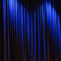 blue curtain show stage