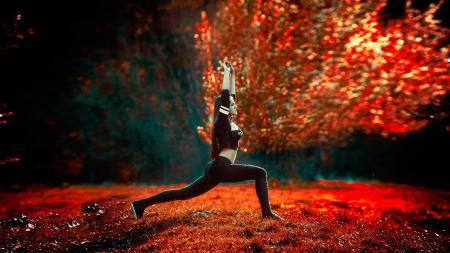 stretching outside yoga exercise